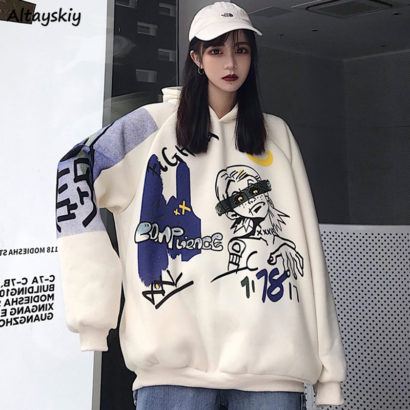 Hoodies Women Oversize BF Loose Hooded Plus Velvet Warm Printed Japanese Style All-match Unisex Couples Sweatshirt Pullover Chic