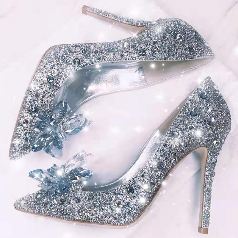 2021 Newest  Cinderella Shoes Rhinestone High Heels Women Pumps Pointed toe Woman Crystal Party Wedding Shoes 5cm/7cm/9cm