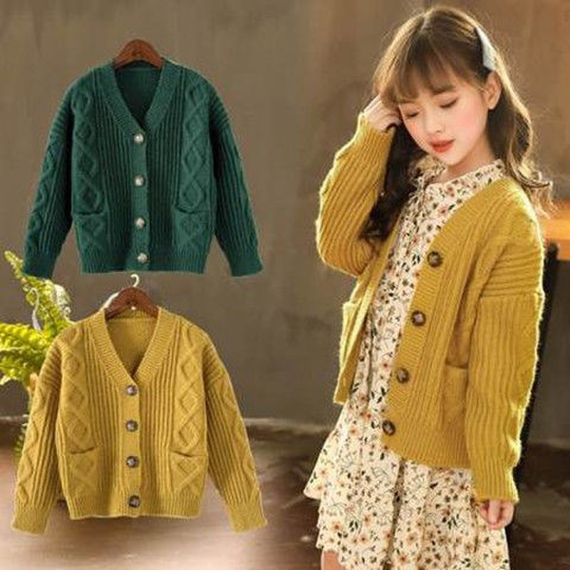 Kids Sweaters Autumn Solid Girls Cardigan Knit Wool Children Girls Clothes Tops Color Yellow Children Girl Warm Winter SweaterSweaters   -