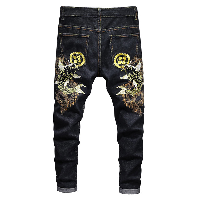 Sokotoo Men's Carp Embroidery Black Slim Pencil Jeans High Fashion Denim Pants