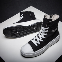 Autumn Winter Sneakers Men Canvas Shoes High top Male Brand Footwear Mens Casual Shoes Black High Top Canvas Men sneakers