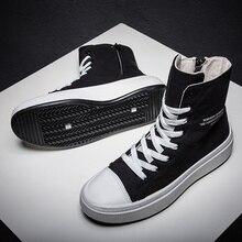 Sonbahar kış ayakkabı erkekler kanvas ayakkabılar yüksek top erkek marka ayakkabı gündelik erkek ayakkabısı siyah yüksek Top tuval erkekler Sneakers