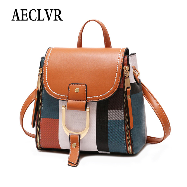 AECLVR Women Backpack Designer High Quality PU Leather Female Bag Fashion School Bags Large Capacity Backpacks Travel Bags