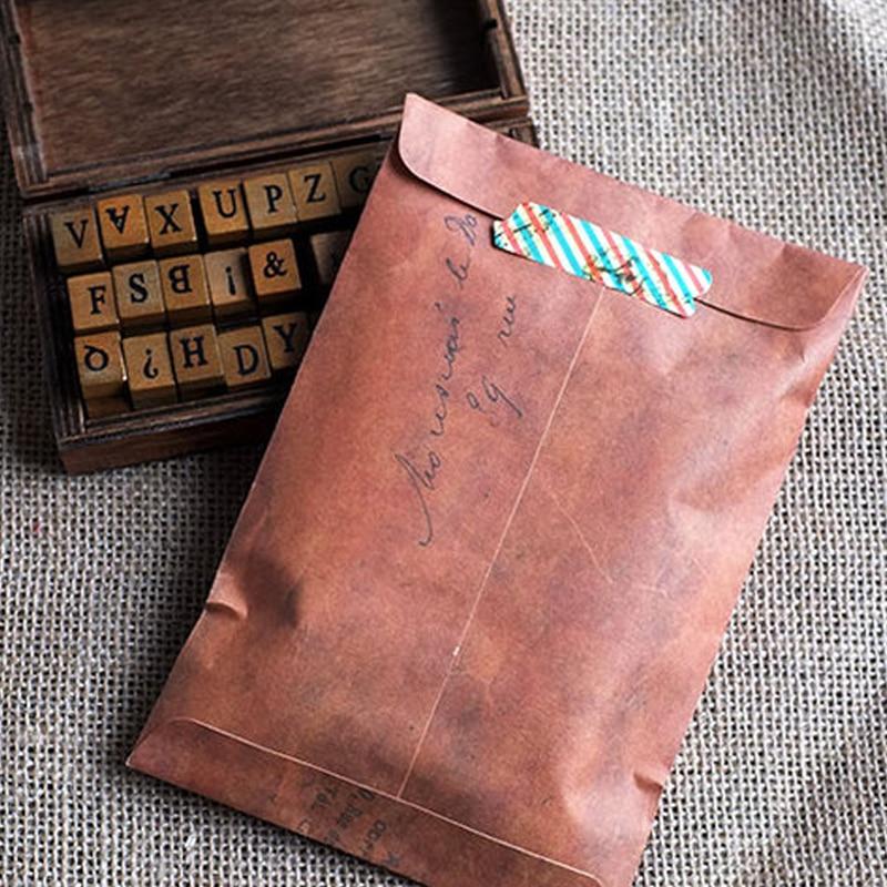 10 Pcs/Set Retro Style Brown Kraft Paper Envelope Postcard Invitation Letter Stationery Paper Bag Vintage Air Mail Gift Envelope