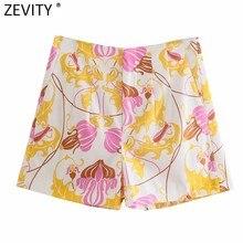 Zevity-pantalones Cortos con estampado Floral para mujer, Bermudas femeninas de diseño plisado, elegantes, con cremallera, informales, ajustados, P1124, 2021