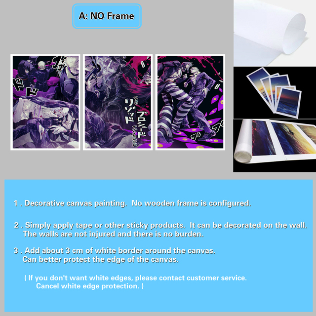 HD Prints Posters Framework Modular Art Pictures 3 Pieces Anime JoJo's Bizarre Adventure Canvas Paintings Living Room Home Decor 4