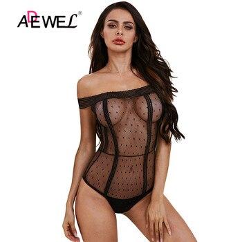 ADEWEL, traje sin espalda de encaje negro para mujer, body sexy transparente, peleles 2020, traje de gato para fiesta, monos ajustados