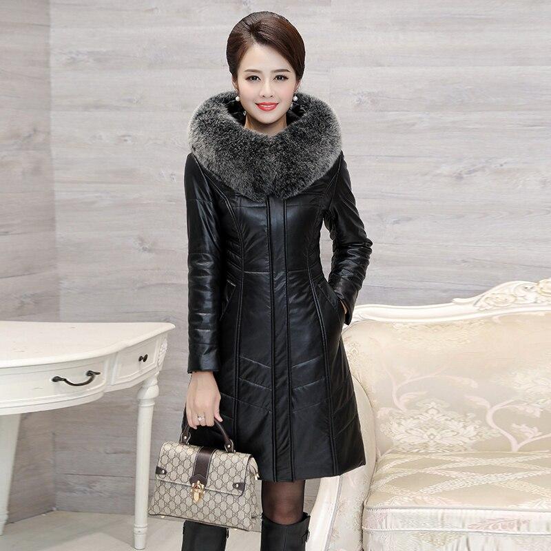 Зимний женский пуховик из искусственной овчины с воротником из лисьего меха, Длинные парки, пальто с капюшоном для женщин размера плюс 8XL, теплые длинные пальто - 5