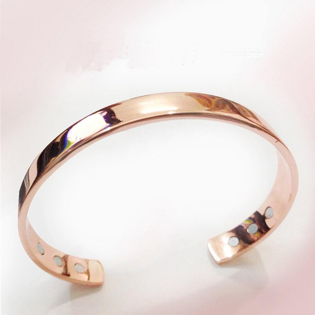 Магнит из чистой меди для здоровья Открытый браслет с покрытием из розового золота простой браслет для здоровья лечебный браслет ювелирные...