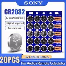 20 шт. SONY CR2032 CR 2032 DL2032 ECR2032 BR2032 3 В литиевая батарея для часов игрушечный калькулятор автомобильный пульт дистанционного управления кнопочная ...