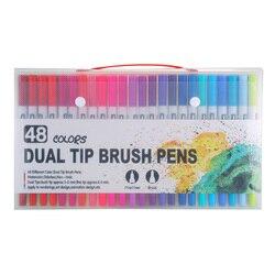 48 kolorów Marker liniowy rysunek Marker wodny długopisy podwójny pędzelek do zdobień akcesoria do malowania