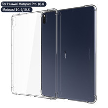 Capa de silicone para huawei matepad pro 10.8 2019 matepad 10.4 10.8 2020 m6 10.8 transparente claro caso macio tpu volta tablet capa