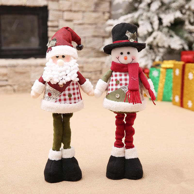 Extensible Santa Claus Snowman Doll Christmas Decorations Shop Window Layout Cute Toys Gift For Kids New Year Ornaments Supplies