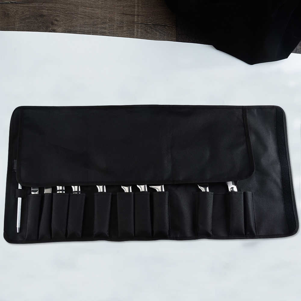 XYj Koki Memasak Dapur Pisau Tas Roll Tas Membawa Tas Dapur Memasak Portabel Tahan Lama Penyimpanan 12 Kantong Hitam alat
