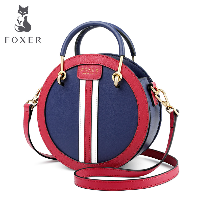 FOXER Mini Round Handbag England Style Women Mini Tote Elegant Small Female Leather Crossbody Bag Vacation Lady Messenger Bags