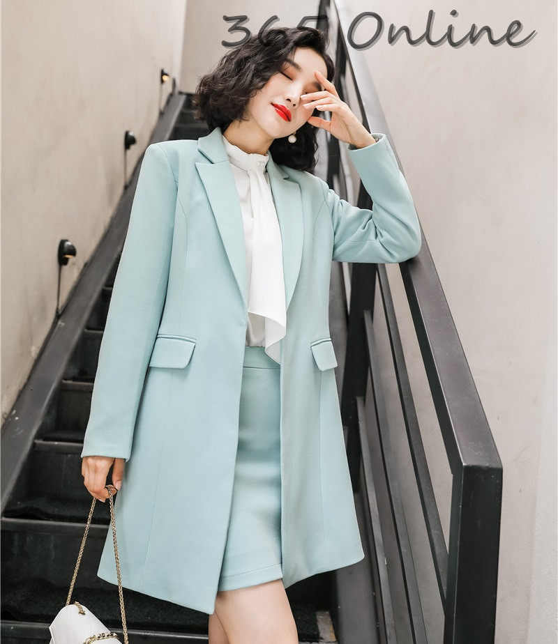High Quality Fabric Middle Long Windbreaker Autumn And Winter Professional Blazers Jackets Coat For Women Ladies Outwear Tops