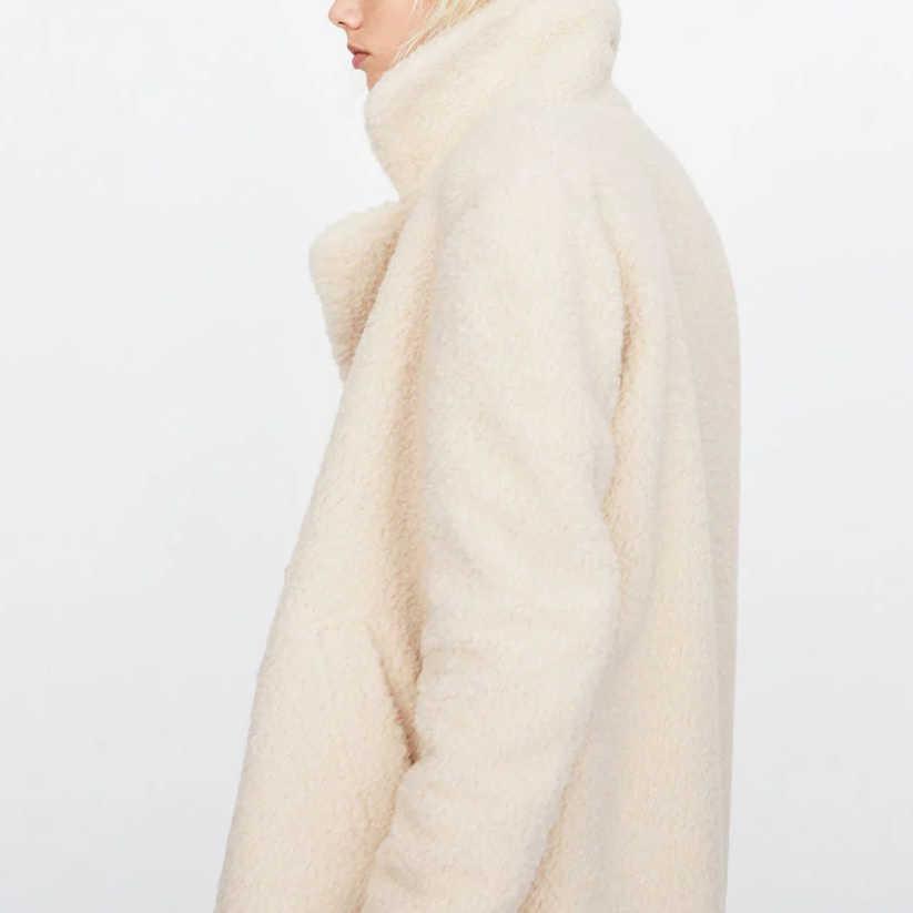 ZA jesień zima kobiety Furry Faux Fur Coat dwurzędowy długie rękawy kobiet odzieży wierzchniej płaszcze futro jack moda płaszcz parka