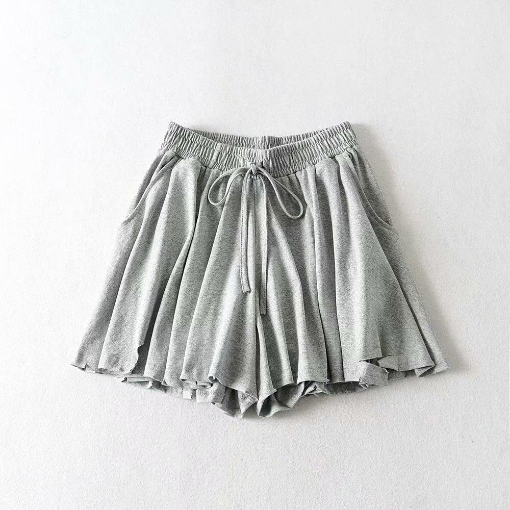 Shorts Women Fashion Casual High  Gray Waist Pocket With Sashes  Khaki Trouser Hrarjuku Autumn   White