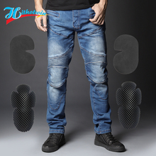 Hot sale Hi-718 Blue motorcycle Jeans leisure motorcycle men's cross-country outdoor riding jeans select protective equipment kn