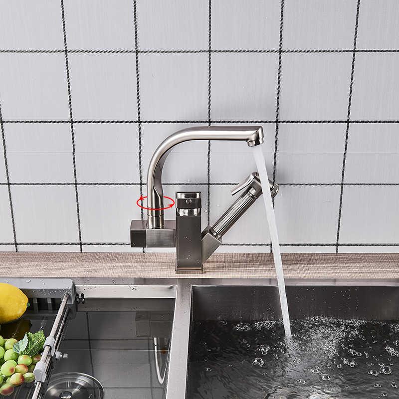 Uythner نحى النيكل المزدوج صنبور سحب الحنفيات المطبخ سطح شنت بخاخ الدش صنبور مطبخ مع أنابيب المياه الباردة الساخنة