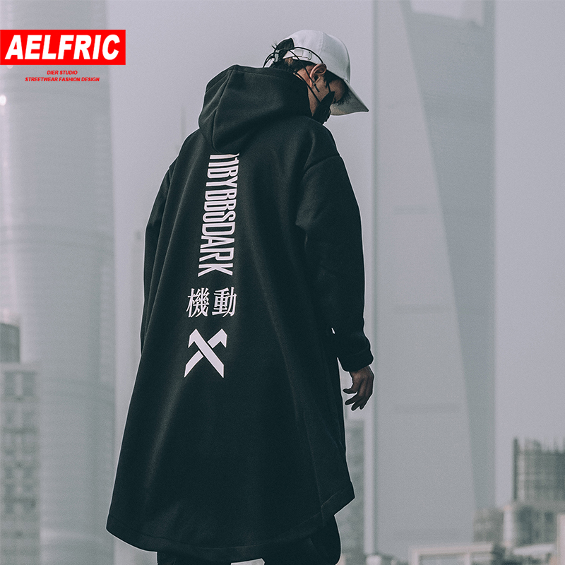 AELFRIC Hip Hop Streetwear Men Trench Long Jacket Men Autumn Winter Harajuku Fleece Hoodies Outwear Oversize Cloak Men Coat