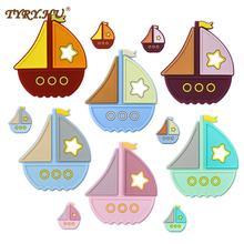 TYRY.HU Silicone Sailboat Teether Beads Cartoon Mini Ship Food Grade Silicone Pandents DIY Teething Toys For Baby Teethers Gift