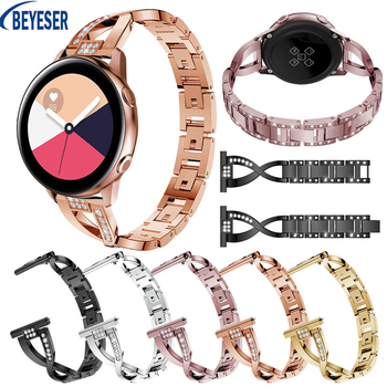 20mm Bracelet For Samsung Galaxy Watch Active Rhinestone Stainless steel Wrist Watch Strap For Samsung Galaxy Watch 42mm Gear S2 20mm strap for samsung galaxy watch active galaxy watch 42mm gear s2 band stainless steel replacement crystal women wristband
