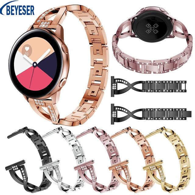 20mm Bracelet For Samsung Galaxy Watch Active Rhinestone Stainless steel Wrist Watch Strap For Samsung Galaxy Watch 42mm Gear S2