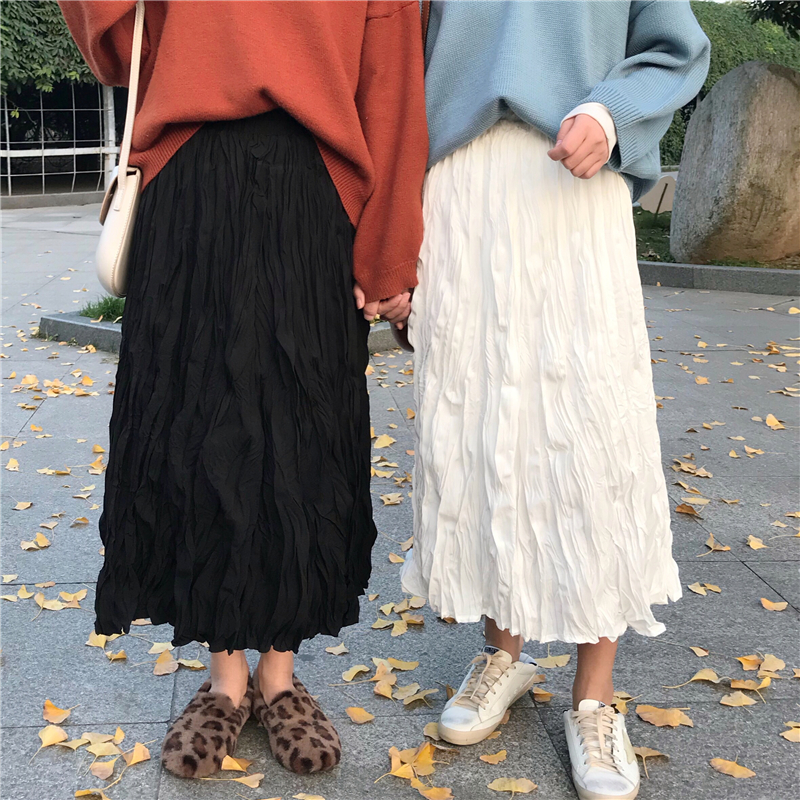 2020 New Spring Summer Women Midi Skirt Wrinkled Pleated Long Skirts Elastic Stretched High Waist Crumple Casual Skirt For Women