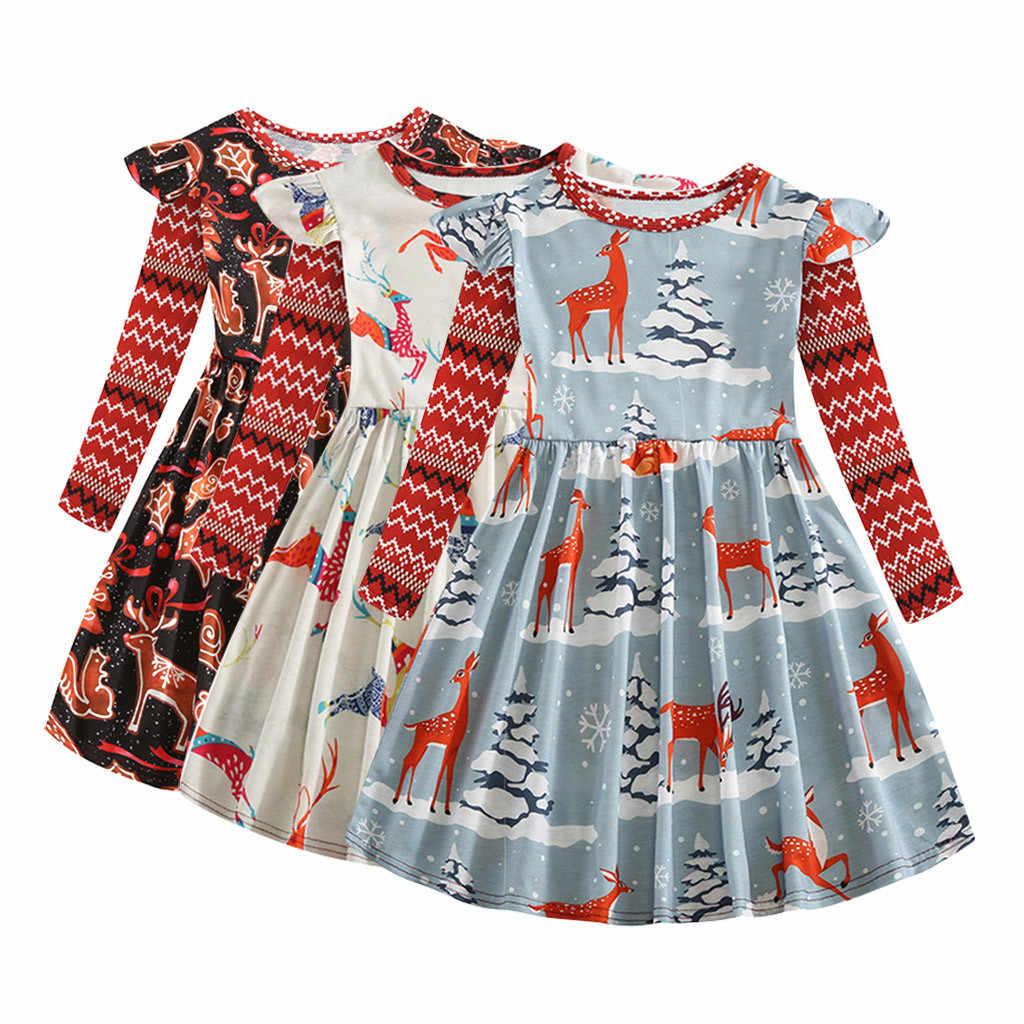Cartoon Animal Deer Dress Toddler Kids Baby Girls Christmas Princess Long Sleeves Ruffles Print O-Neck Winter Dress meisjes jurk