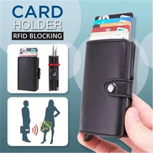 RFID Blocking PopUp Card Holder Bag Multi-Functional Leather Wallet Card Holder convenient pop-up function outdoor card holder(China)