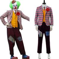 2019 Batman Joker Cosplay Joaquin Phoenix Arthur Fleck Joker Costume Adult Men Outfit Suit Mask Wigs Halloween Carnival Costumes