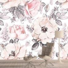 Papel pintado fotográfico 3d rosa papel tapiz para decoración del hogar para sala de estar chica papel tapiz Mural autoadhesivo paredes murales rollos