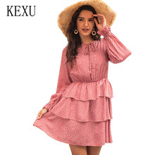 KEXU Autumn Explosion Long Sleeve Sweet Femme Dress Rice Print Cuff Tie Cake Multi-layer Ruffle Dress Casual Boho Beach Dresses