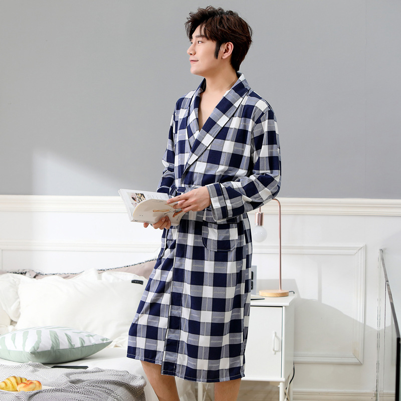 Cotton Material  Kimono Men Mens Robe Mens Pijama Gawn 1299