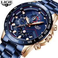 Nuevo LIGE relojes para hombre de moda azul deporte cronógrafo de cuarzo reloj de los hombres de acero inoxidable de lujo impermeable reloj de pulsera militar 2019