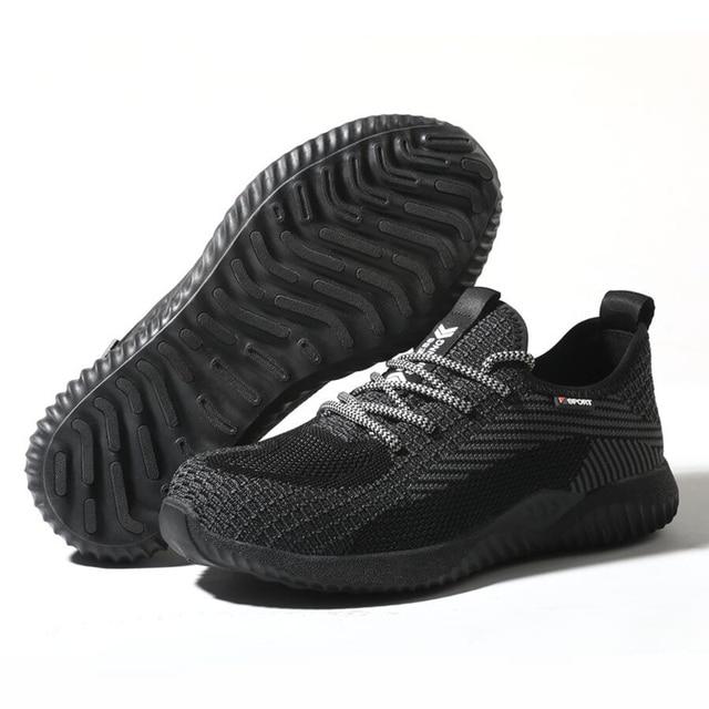 Sapatos indestrutíveis homens sapatos de trabalho de segurança com aço toe cap puncture-proof botas leves tênis respirável dropshipping 6
