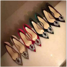 sexy pointed toe woman big diamond high heel shoes bride crystal wedding red black green pink