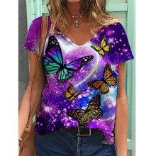 Mode d'été Femmes Lâche Fleur Animal Paysage Imprimé T-shirt À Manches Courtes Hauts Col V Blouse Décontractée