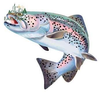 EARLFAMILY 13cm dla pstrąga ryby kolorowe naklejka samochodowa odporne na zarysowania naklejki samochodowe wodoodporny samochód chłodnia dekoracji dla JDM SUV