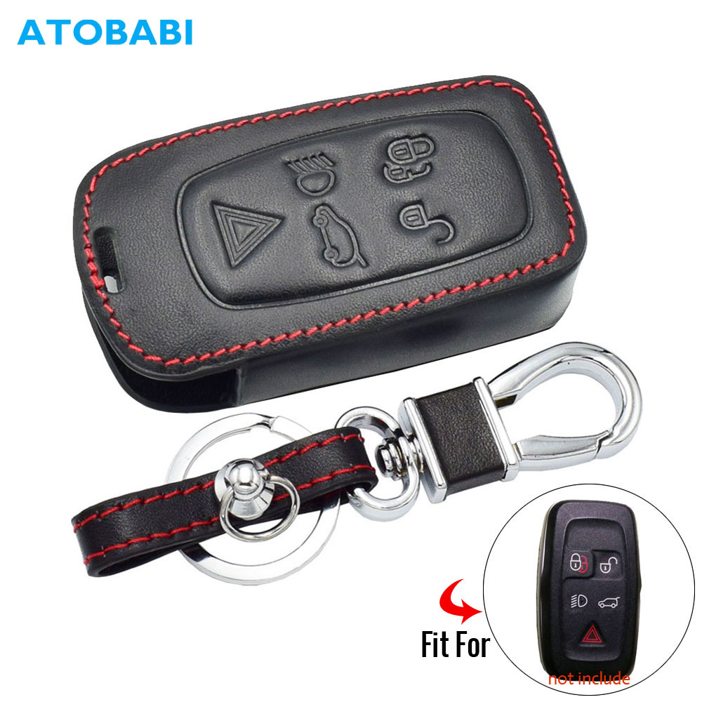 Leather Car Key Case For Land Rover LR4 LR2 Discovery Rang Rover Sport Evoque 5 Buttons Smart Remote Fob Cover Auto Keychain Bag