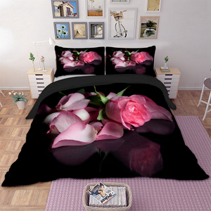 3D Pink Rose Bed Linen Luxury Floral Duvet Cover Set Single Double Twin Full Queen King Size Bedding Set Girl Marriage Bed Cover
