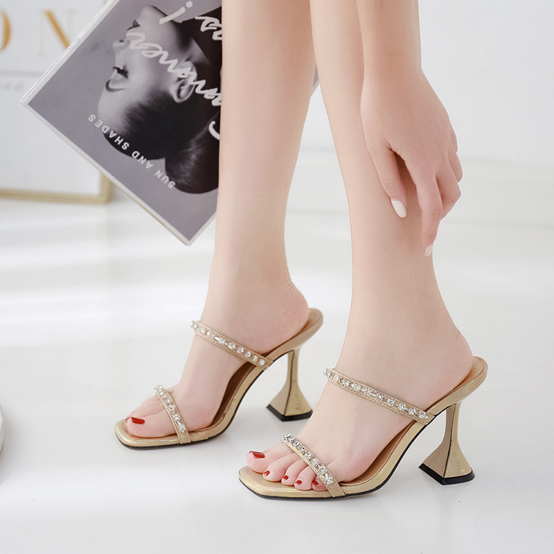 Sandals Stiletto Heels Low-heeled Shoes With Strap 2019 Women's Large Size Suit Female Beige Woman High Sexy Sale Fashion(China)