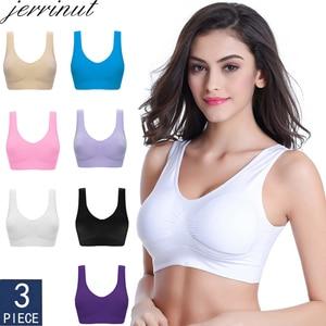 Jerrinut 3pcs Sexy Seamless Bra bras For Women No Pad Plus Pize Push Up Bralette Brassiere Bra Vest Wireless Active Bra