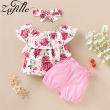 ZAFILLE Floral Print Baby Girls Clothes 3Pcs Top+Shorts+Headband Outfits Set 2020 New Summer Toddler Kids Clothes Girls Clothing цена 2017