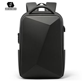 Fenruien markowy plecak na laptopa antykradzieżowe wodoodporne plecaki szkolne USB ładowanie mężczyźni podróżna torba biznesowa plecak nowy Design tanie i dobre opinie Oxford CN (pochodzenie) wytłoczone Miękka osłona 20-35 litrów Otwór na wyjście Kieszonka na telefo Wewnętrzna kieszeń na zamek błyskawiczny