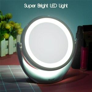 Image 2 - مرآة لوضع المكياج شاشة تعمل باللمس 1X 5X المكبر LED مرآة 360 درجة دوران قابل للتعديل مزدوجة الوجهين مرايا مستحضرات تجميل الجدول 45