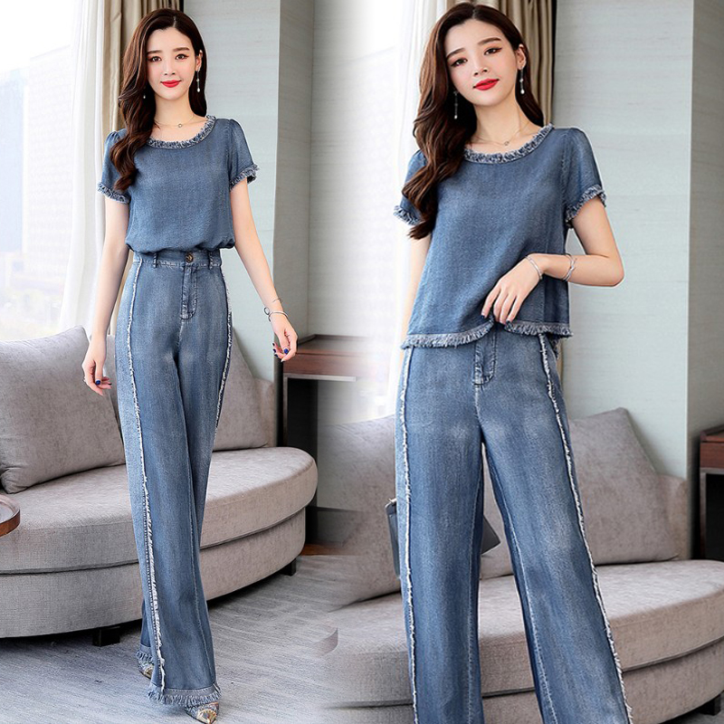 Summer Casual Vintage Woman Clothes , Womens Tassel Wide Leg Denim Trousers Set , Loose Short Sleeve Jeans Pants Sets For Women