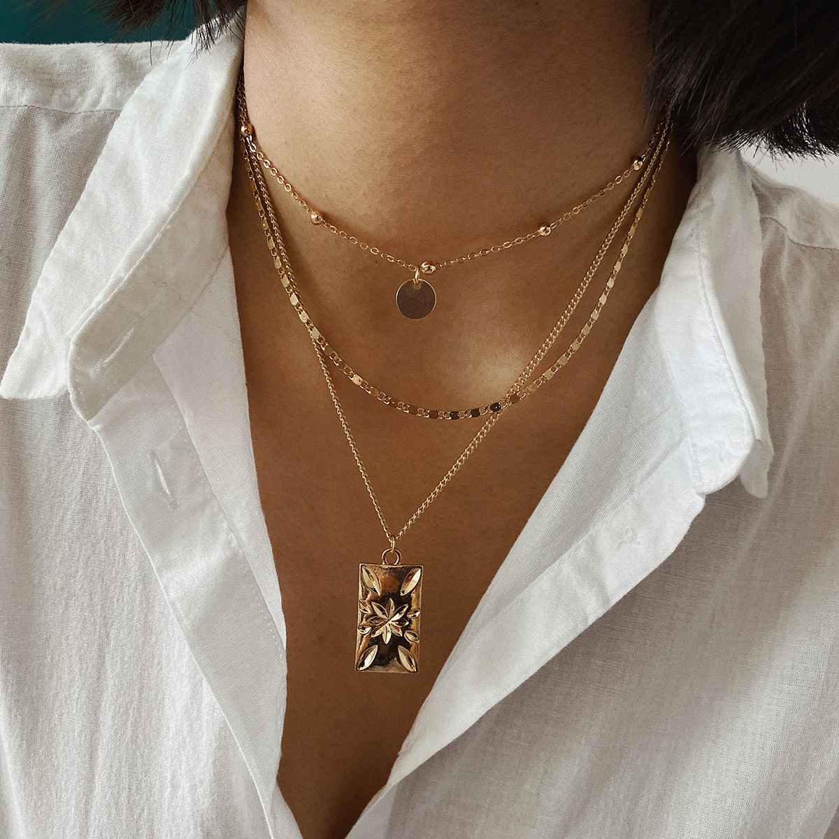 Sequin Pendant Bead Choker Vintage Carved Flower Square Necklaces for Women Gold Silver Color Layered Necklace Female Simple New