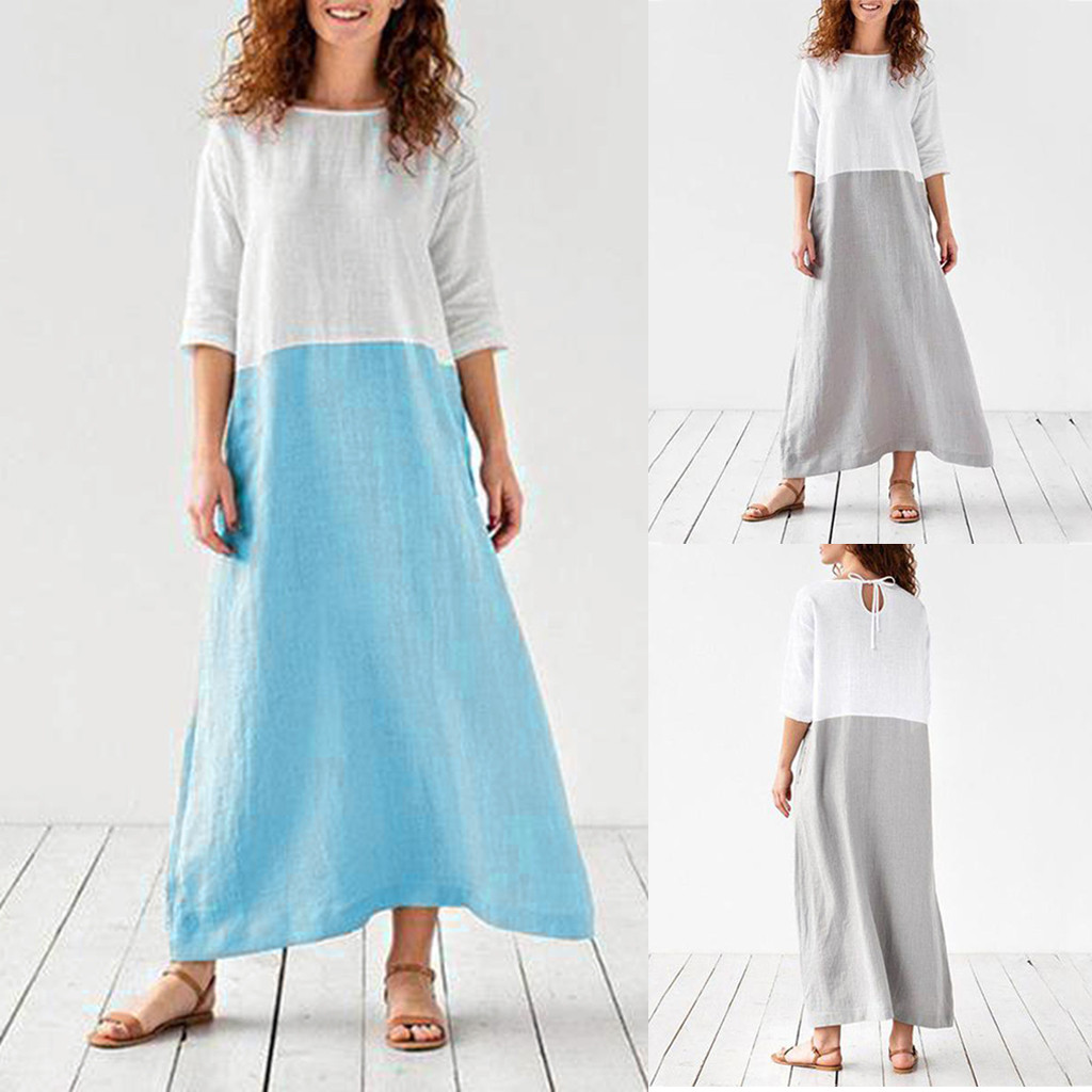 Women Cotton Linen Dress Plain Oversize Maxi Shirt Dress Plus Size woman casual dress Long sleeve